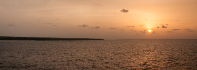 Aldabra Island, Seychelles -- sunset and southwest corner of the island