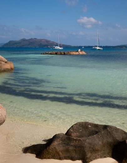 Curieuse Island, Seychelles -- catamarans