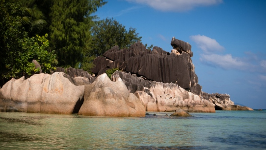 Curieuse Island, Seychelles -- weather worn granite