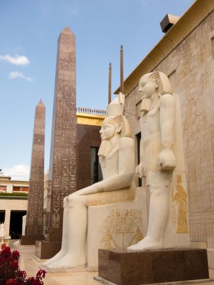 Wafi Mall, Dubai, U.A.E., entrance with obelisks and Pharaohs.