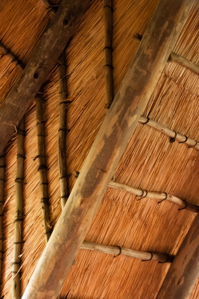 Jackie Cameron School -- interior view of thatched roof