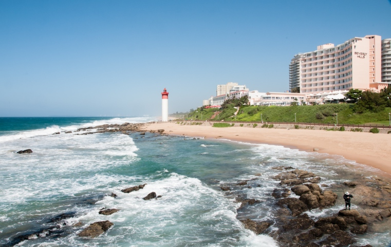 Umhlanga Beach lighthouse and (??) Beverly Hills