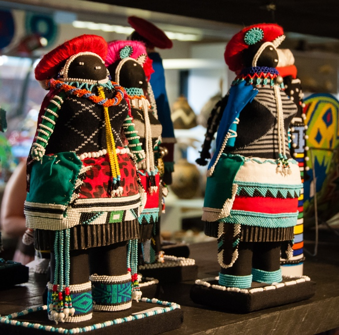 Zulu art -- three tribal character dolls
