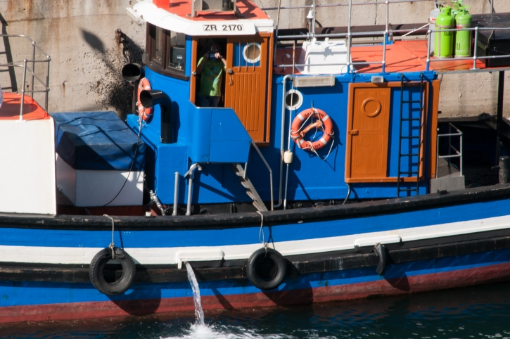 A colorful, working Cape Town Harbour tugboat