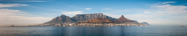 Cape Town panorama viewed from the ocean as we sailed into the harbour