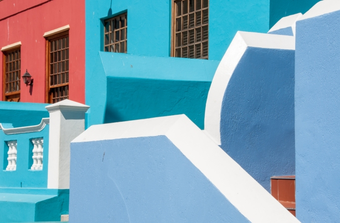 Geometric patterns on Waal Street, Cape Town, in the Bo-Kaap neighborhood