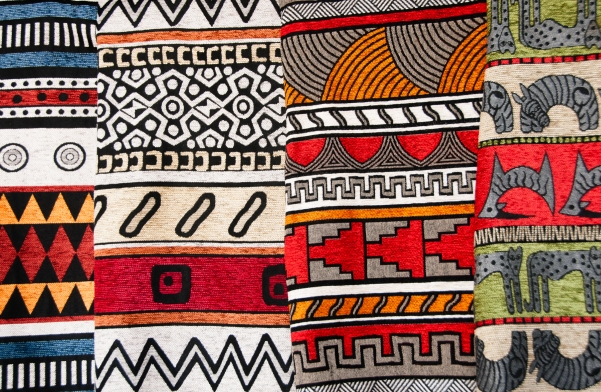Hand woven Zulu blankets with contemporary colors