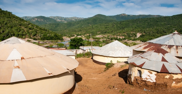 Inanda Valley traditional Zulu huts, near Durban, South Africa