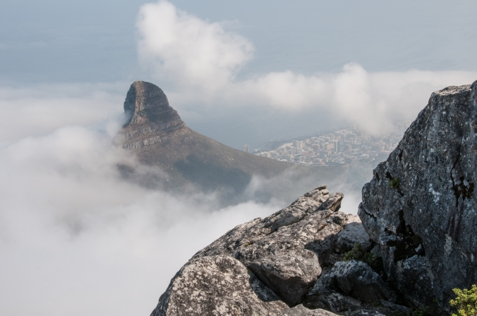 Lion's Head and Cape Town emerge from the fog, viewed from Table Mountain
