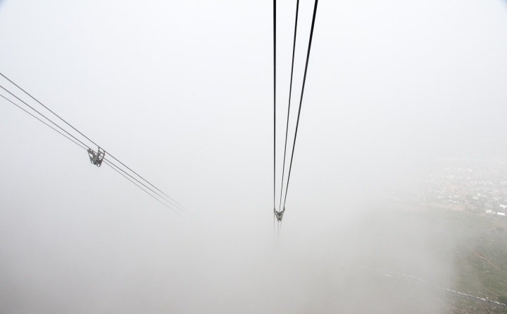 Lost in the fog on the Table Mountain Cableway