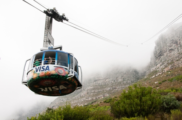 Table Mountain Cableway -- the cables are 1,200 meters long (3,937 feet or 0.75 miles)