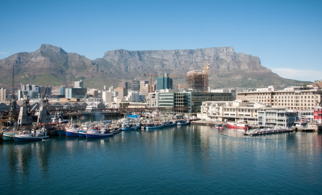 V&A Waterfront and Table Mountain view from the ship's berth, Cape Town, South Africa