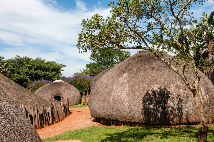 Zulu village huts, near Durban, South Africa