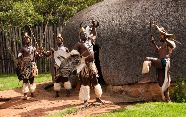 Zulu warriors, Inanda Valley village, Durban, Souith Africa