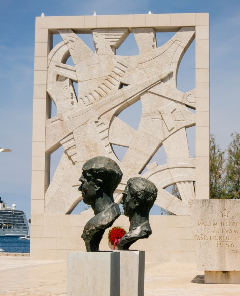 A contemporary memorial at the harbor, Rovinj, Croatia