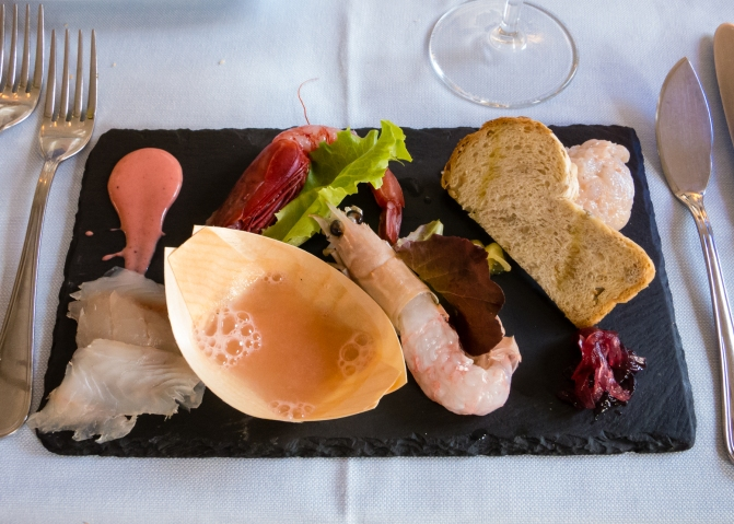 A first course -- seafood crudo at Elefante Bianco, Trieste, Italy