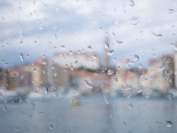 A glimpse of Piran from the wet window of the ship's tender, Piran, Slovenia