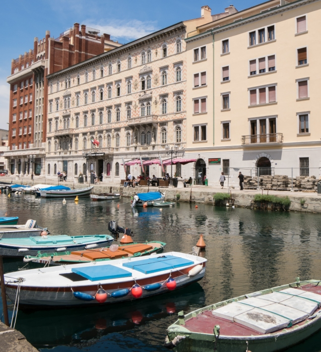 "Canal Grande (Grand Canal) and Civico Museo Teatrale ""Carlo Schmidl"", Trieste, Italy"