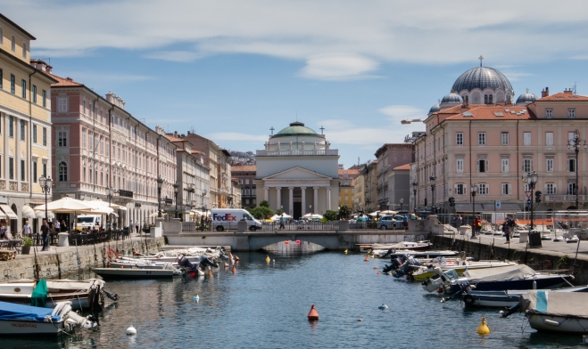 Canal Grande (Grand Canal) and the San Antonio Taumaturgo, Trieste, Italy