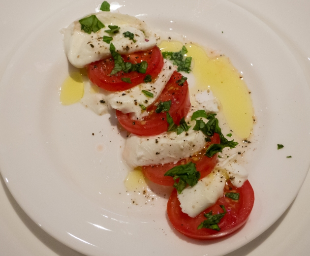Caprese Salad made in our kitchen aboard the ship from local ingredients