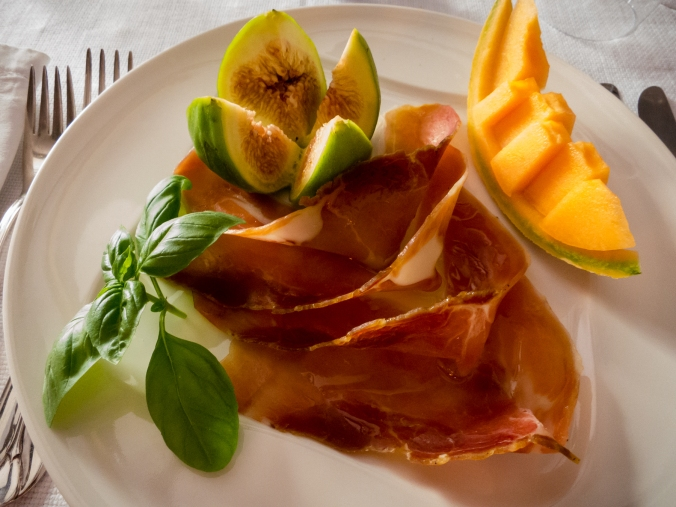 First course at Krcma Ulika restaurant, Rovinj, Croatia- Prsut sa vocem (prosciutto and melon)