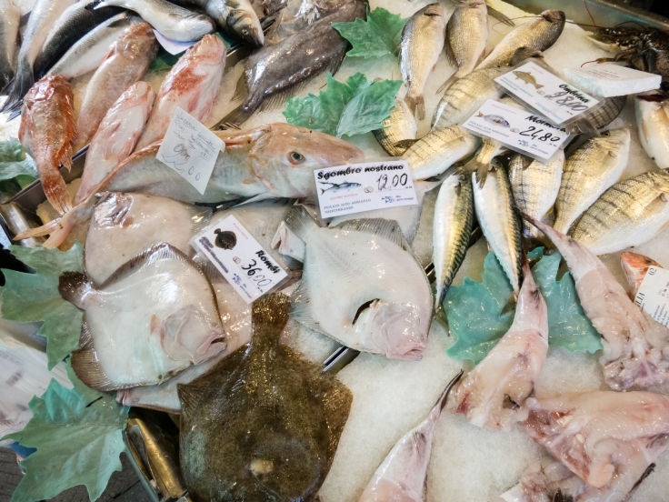 Fresh fish at the Rialto Market, Venice, Italy