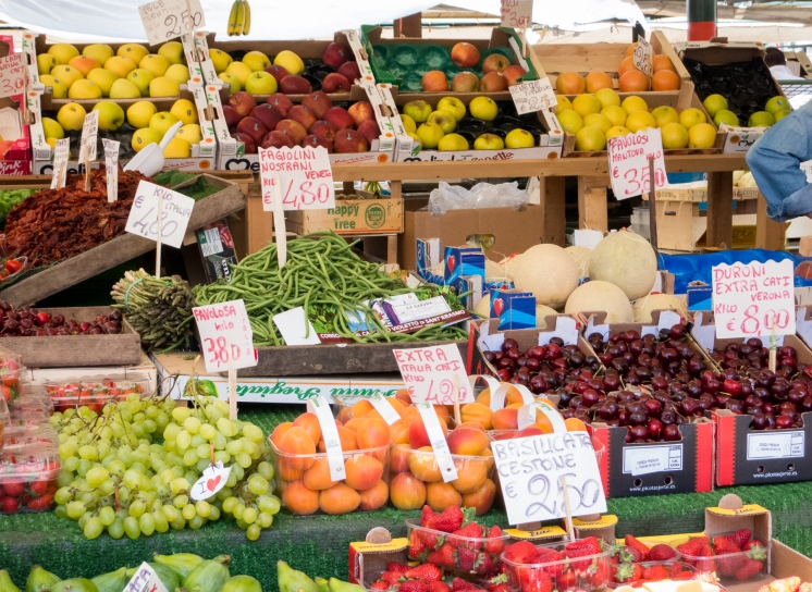 Fresh fruits and vegetables at the Rialto Market, Venice, Italy