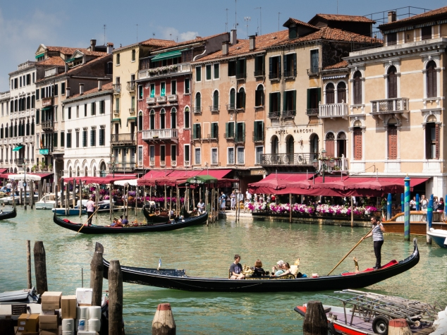 Gondolas and cafes on the Canal Grande (Grand Canal), Venice, Italy