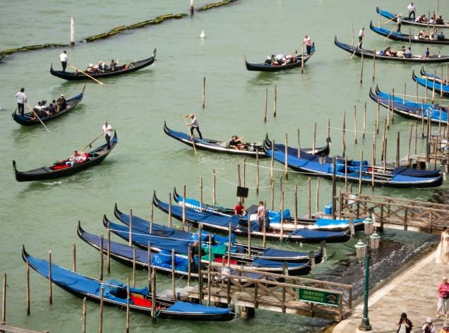Gondolas entering the Canal Grande (Grand Canal), Venice, Italy