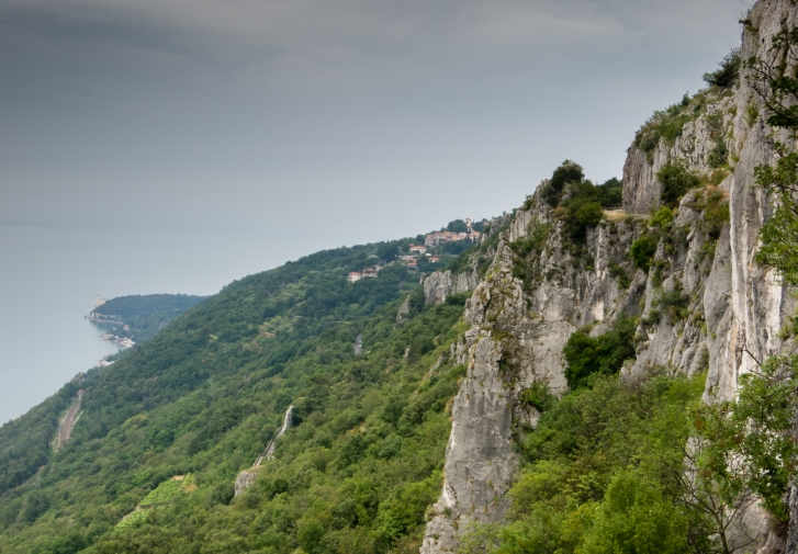Grey limestone cliffs overlooking the Adriatic Sea (Gulf of Trieste) from the strada Napoleonica