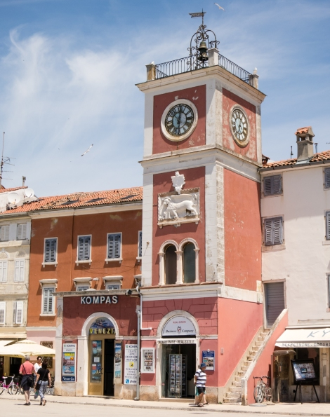 Harbor clock tower, Rovinj, Croatia