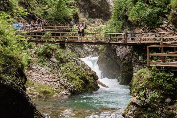 Hiking trail and bridge over the Radovna RIver along Vintgar Gorge, near Bled, Slovenia