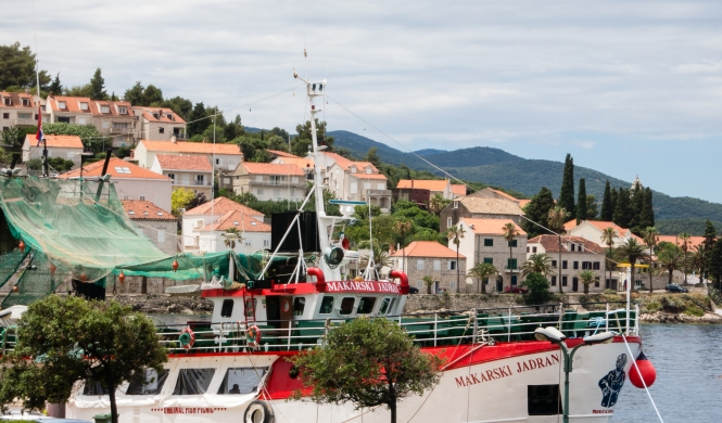 Homes on the hillside overlooking the port of Korcula, Croatia