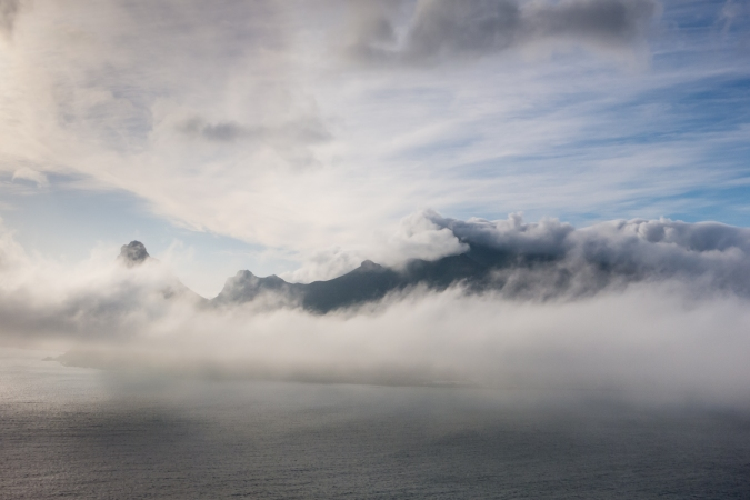 Hout Bay enveloped in evening fog, The Cape Peninsula, South Africa