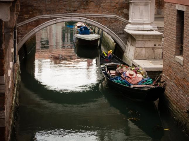 """Idling"" gondolas, Venice, Italy"