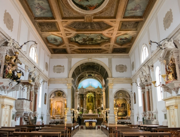 Interior of St. George Cathederal (built 1344, renovated 1637), Piran, Slovenia
