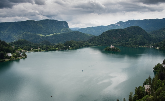 Lake Bled and its island with a church, Slovinia, from Bled Castle (circa 1011 A.D.)