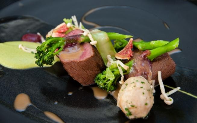 Luncheon, Grand Roche Hotel Restaurant -- main course, Sous Vide Springbok (antelope-gazelle) Loin
