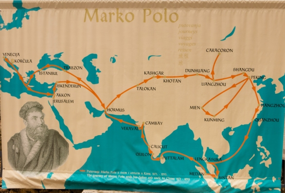 Map of Marco Polo's journey to China (1271 - 1295) in Old Town Korcula, Croatia