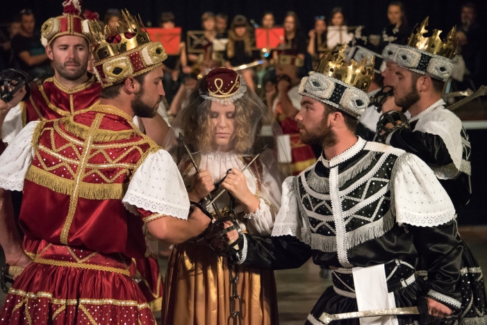 Moreska (sword dance) performed in Korcula, Croatia-  The Bula implores the Red King and Black King to call off the battle