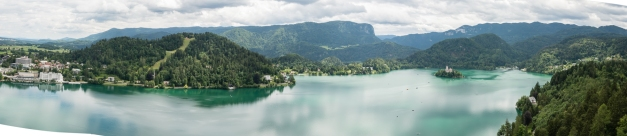 Panorama of Lake Bled, Slovinia, from Bled Castle (circa 1011 A.D.)