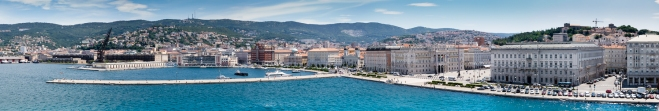 Panoramic view from the harbor of Trieste, Itlay