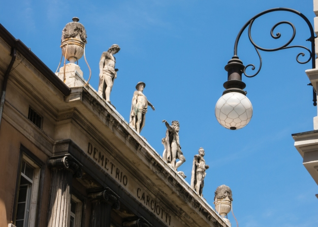 Roof statues in Trieste, Italy