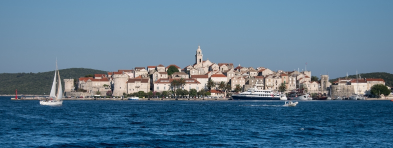 Sailing into the Old Town Korcula, Croatia