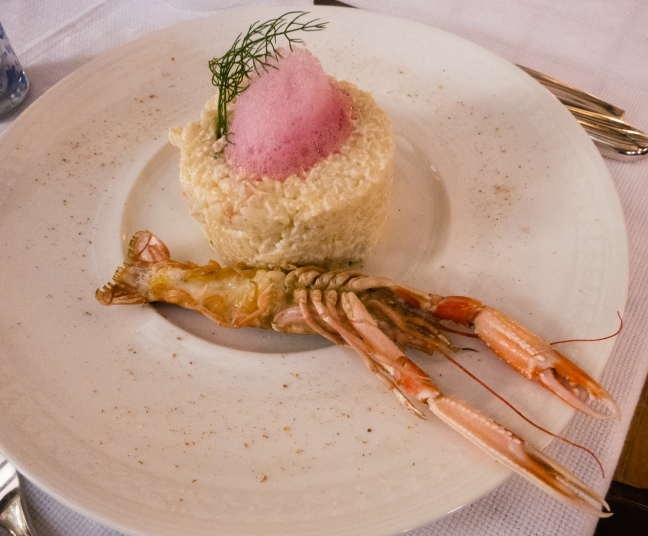 Second course at Krcma Ulika restaurant, Rovinj, Croatia- Rizoto skampi burata (shrimp risoto with burata)