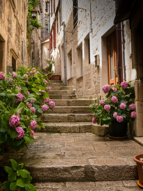 Steps in Old Town Korcula, Croatia