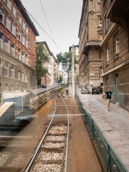 The tram conductor's view as we head out of downtown Trieste, Italy