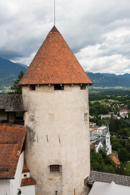Turret tower of Bled Castle overlooking Lake Bled, Slovenia