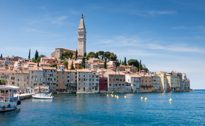 View of Old Town Rovinj, Croatia, from the harbor
