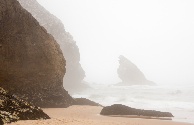 A foggy day at the beach near Cabo da Roca, Continental Europe's pesternmost point, Colares, Portugal